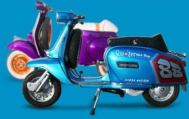 Purple and blue Lambretta